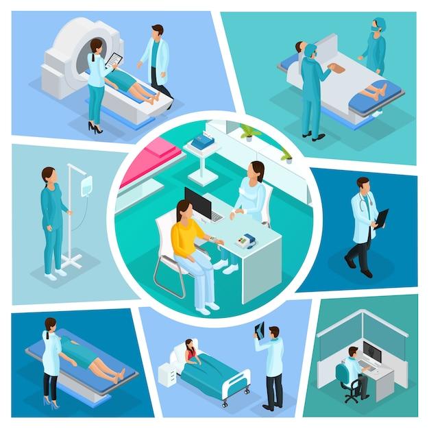 Isometrische medizin zusammensetzung mit ärzten patienten chirurgie ärztliche beratung und verschiedene diagnostische verfahren isoliert Kostenlosen Vektoren