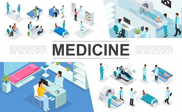 Isometrische medizin zusammensetzung mit ärzten patienten krankenschwestern medizinische diagnostische verfahren mrt-scan apotheke laborforschung innenelemente Kostenlosen Vektoren