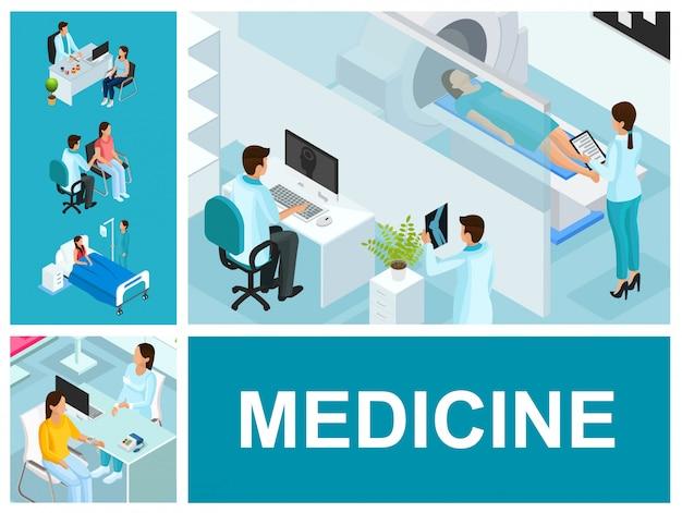 Isometrische medizinische behandlungszusammensetzung mit personen, die ärzte im krankenzimmer und im mrt besuchen Kostenlosen Vektoren