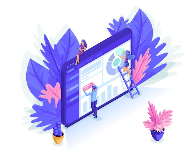 Isometrische menschen arbeiten in der webbranche zusammen. kann für web-banner, infografik verwendet werden. Premium Vektoren