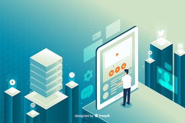 Isometrische menschen arbeiten mit technologie Kostenlosen Vektoren