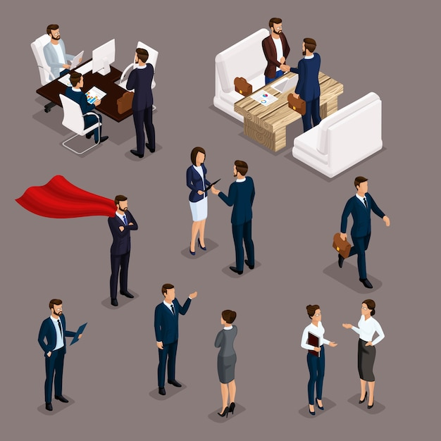 Isometrische menschen isometrische geschäftsleute, geschäftsmann und geschäftsfrau, arbeitskleidung, brainstorming, teamarbeit, geschäftstreffen Premium Vektoren