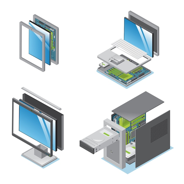 Isometrische moderne geräte und geräte, die mit teilen und komponenten der isolierten tablet-laptop-computer-monitorsystemeinheit eingestellt sind Kostenlosen Vektoren
