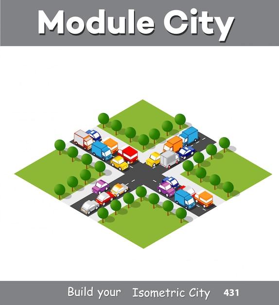 Isometrische modulbereich innenstadt Premium Vektoren