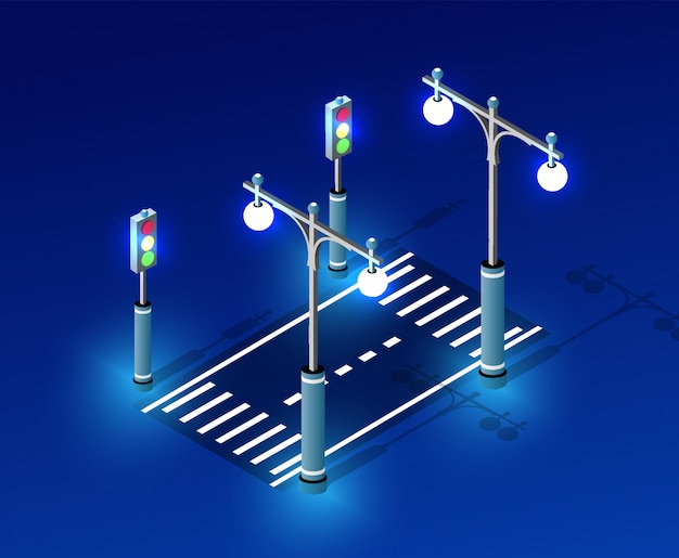 Isometrische nachtlichtbeleuchtung Premium Vektoren