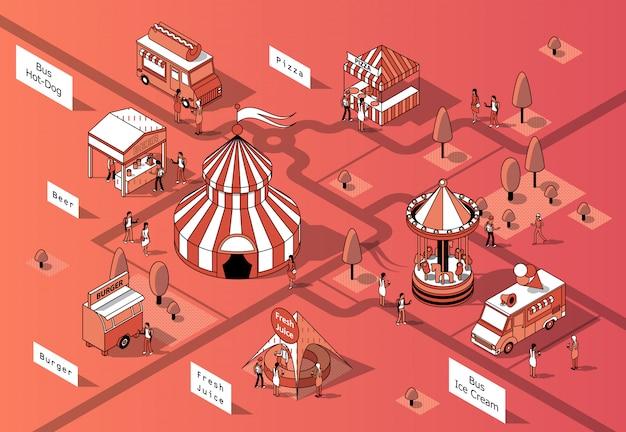 Isometrische nahrungsmittelgerichte 3d, festival - marktplatz Kostenlosen Vektoren