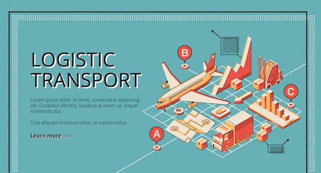 Isometrische netzfahne des logistischen transportes des geschäfts, landungseite. Kostenlosen Vektoren