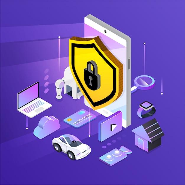 Isometrische Netzwerksicherheit Premium Vektoren