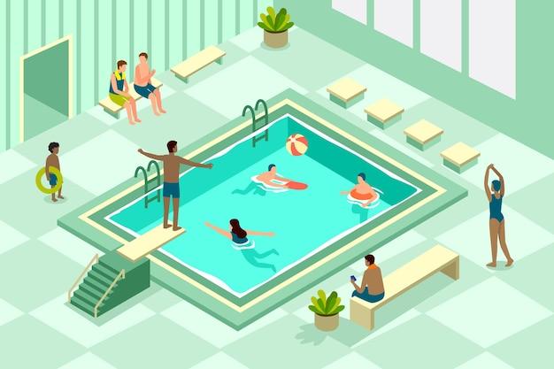 Isometrische öffentliche schwimmbadillustration Premium Vektoren