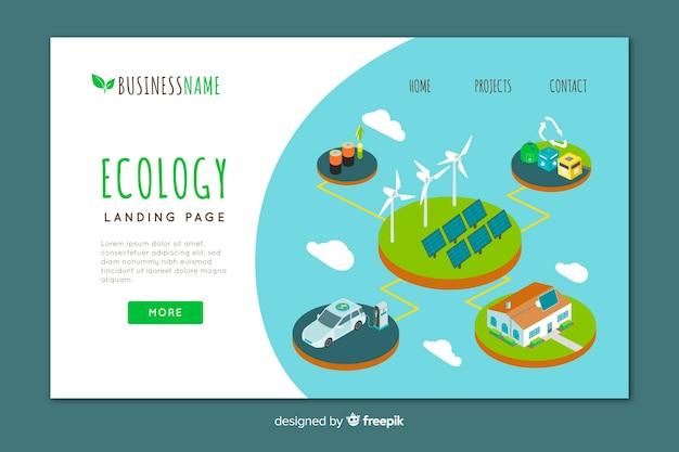 Isometrische ökologie-landingpage-vorlage Kostenlosen Vektoren