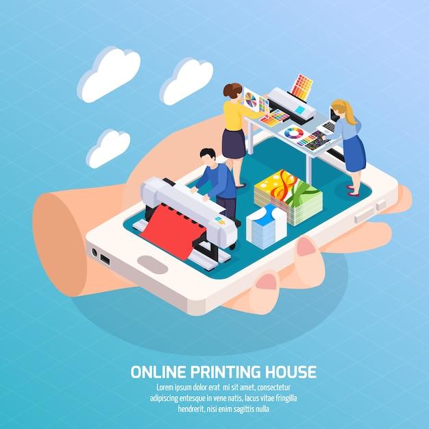 Isometrische on-line-zusammensetzung der werbeagentur mit druckhaus auf smartphoneschirm in der menschlichen handplakatillustration Kostenlosen Vektoren