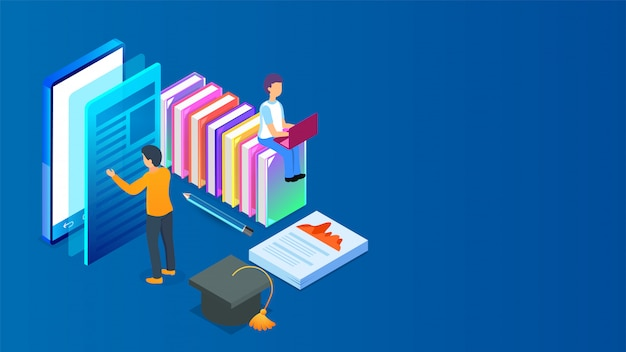 Isometrische online-bibliothek. Premium Vektoren