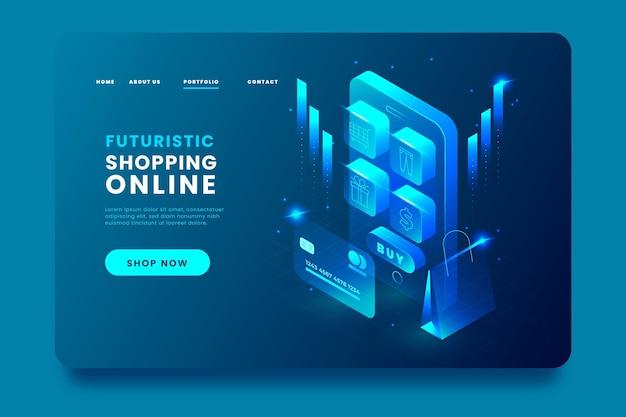 Isometrische online-landingpage-app für einkäufe Kostenlosen Vektoren