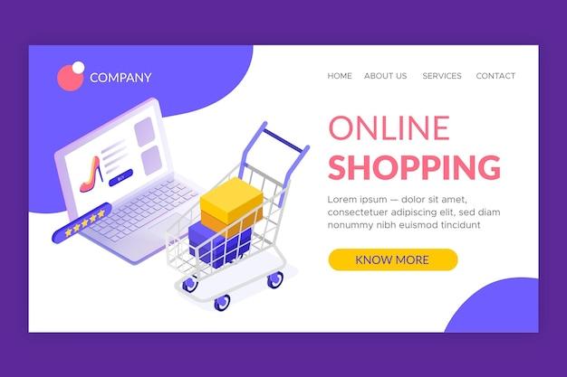 Isometrische online-landingpage-vorlage für einkäufe Kostenlosen Vektoren