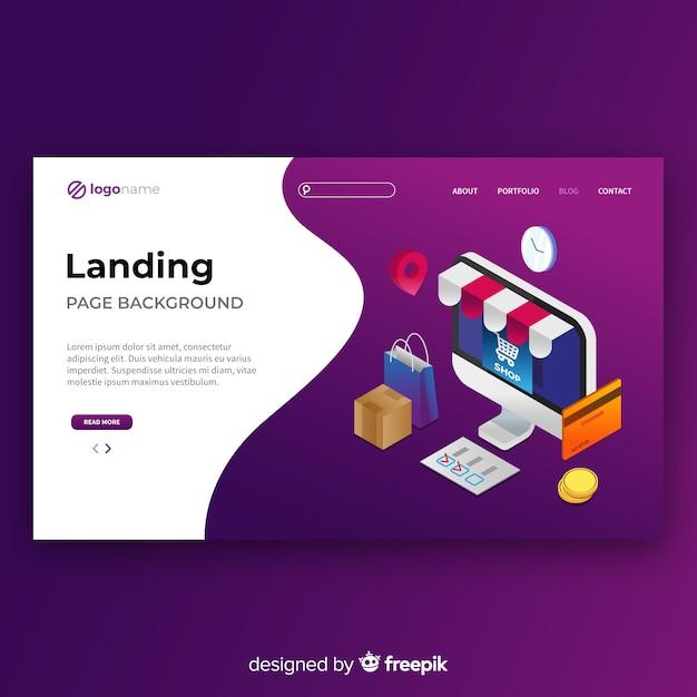 Isometrische online-shopping-landing-page-vorlage Kostenlosen Vektoren