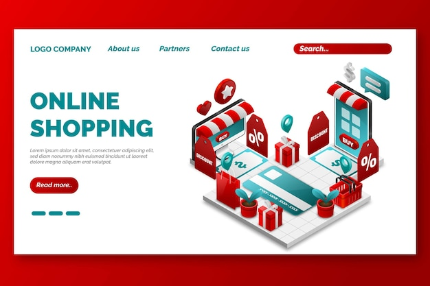 Isometrische online-shopping-landingpage-tempalte Kostenlosen Vektoren