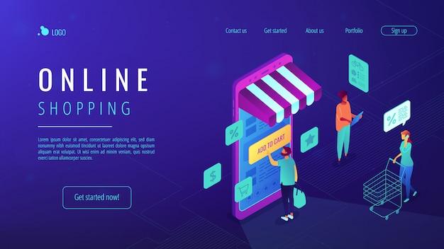 Isometrische online-shopping-landingpage. Premium Vektoren