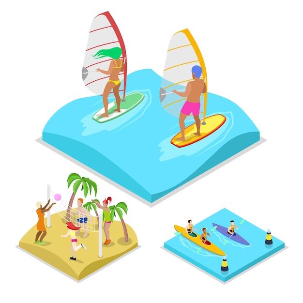 Isometrische outdoor-aktivität surf-illustration Premium Vektoren