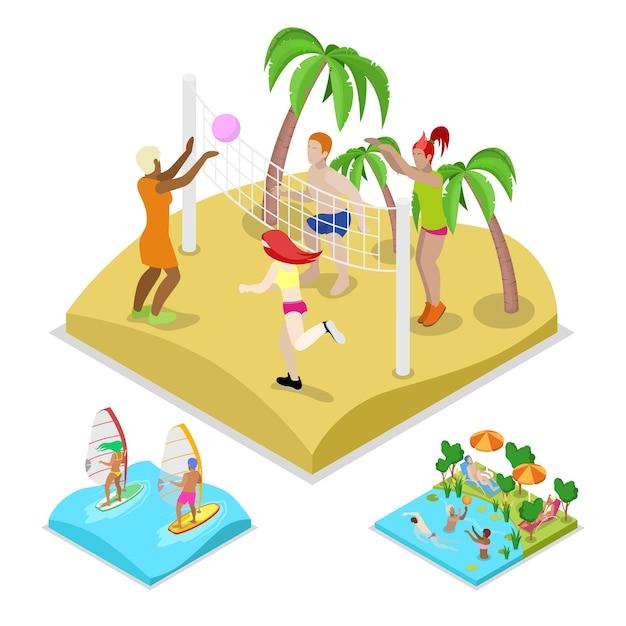 Isometrische outdoor-beach-volleyball-illustration Premium Vektoren