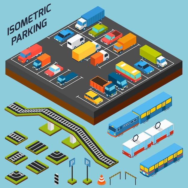 Isometrische parkelemente Kostenlosen Vektoren