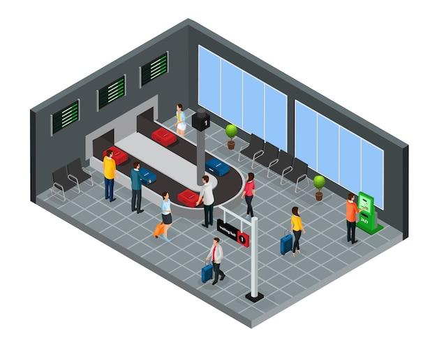 Isometrische personen im flughafenkonzept Kostenlosen Vektoren