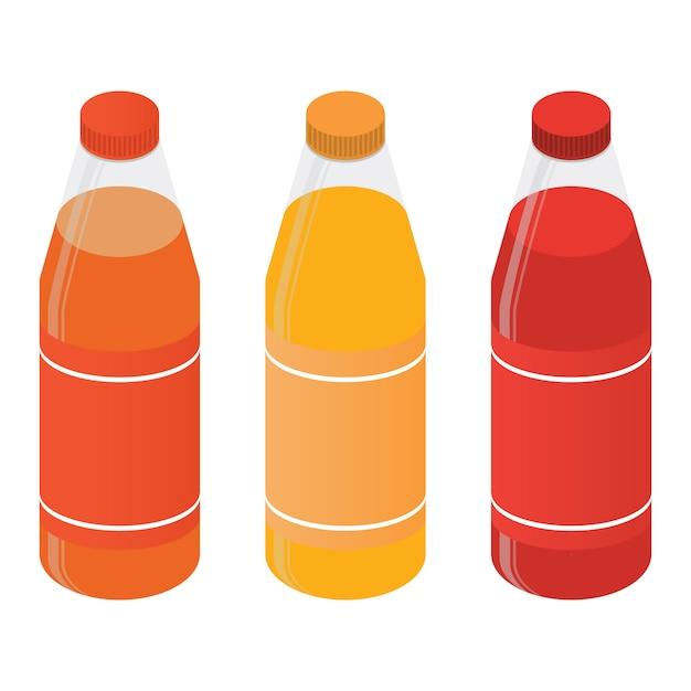 Isometrische plastikflaschen mit saft oder soda. Premium Vektoren