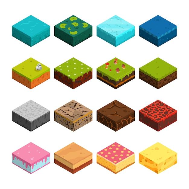 Isometrische Plattformen Setzen Unterschiedliche Bodentexturen