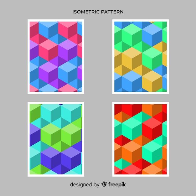 Isometrische polygonale artbroschüren-satz Kostenlosen Vektoren