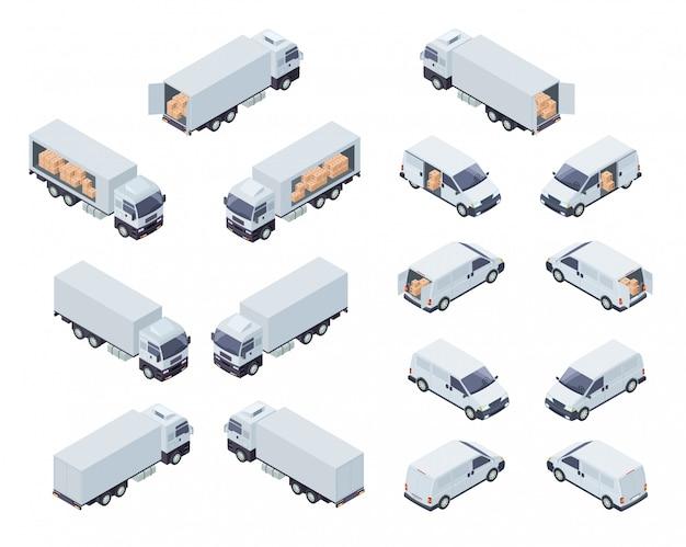 Isometrische projektion des kommerziellen frachtverkehrs Premium Vektoren