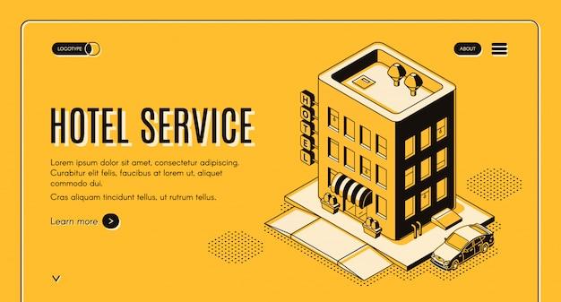 Isometrische projektionsnetzfahne des hotelservice mit kundenauto Kostenlosen Vektoren