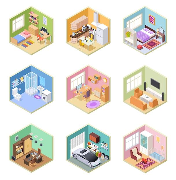 Isometrische räume. ed haus, wohnzimmer küche bad schlafzimmer wc wohnung innenausstattung mit möbelset Premium Vektoren