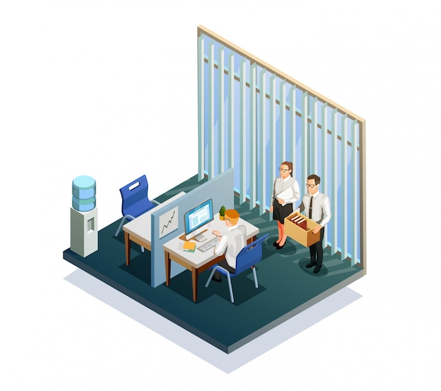 Isometrische rekrutierungsleute Kostenlosen Vektoren