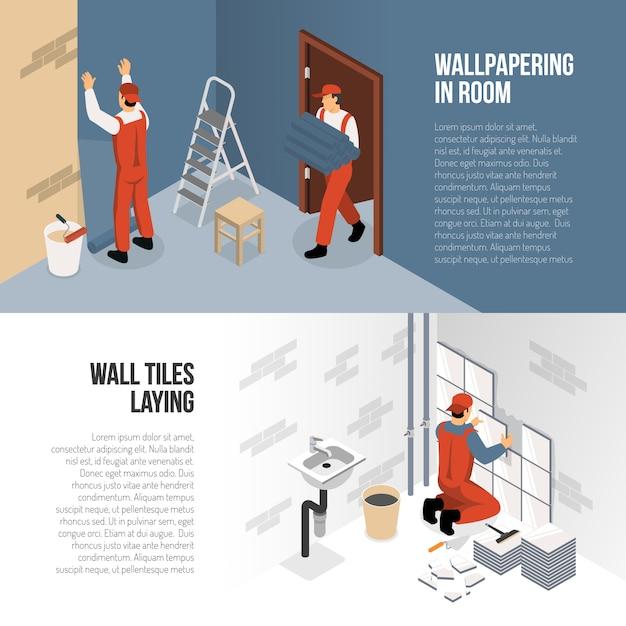 Isometrische renovierungs-banner Kostenlosen Vektoren