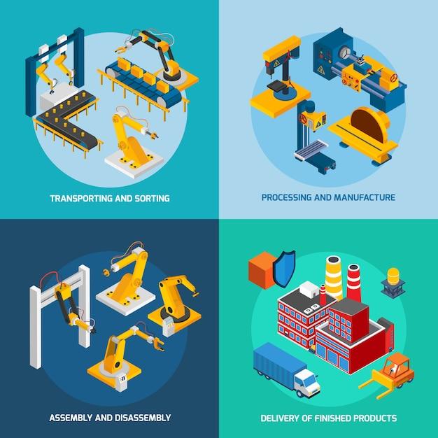Isometrische robotermaschinen Kostenlosen Vektoren