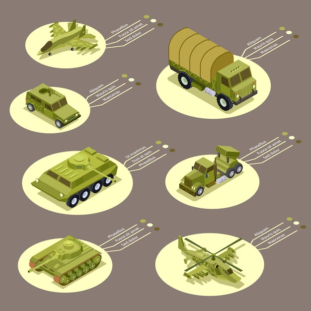 Isometrische rüstungswaffe der infografik Premium Vektoren