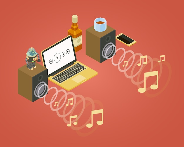 Isometrische schallwelle von den zwei lautsprechern, von den anmerkungsikonen und vom laptop Premium Vektoren