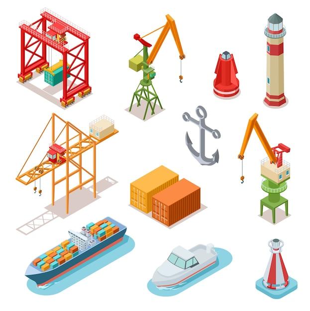 Isometrische schiffe Premium Vektoren