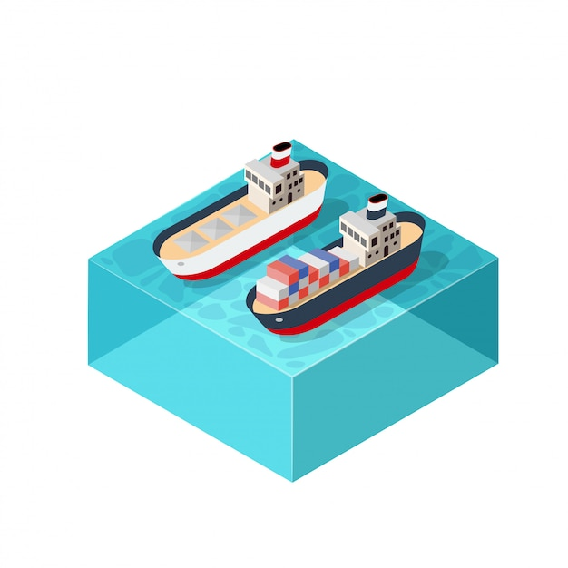 Isometrische schiffsladung Premium Vektoren