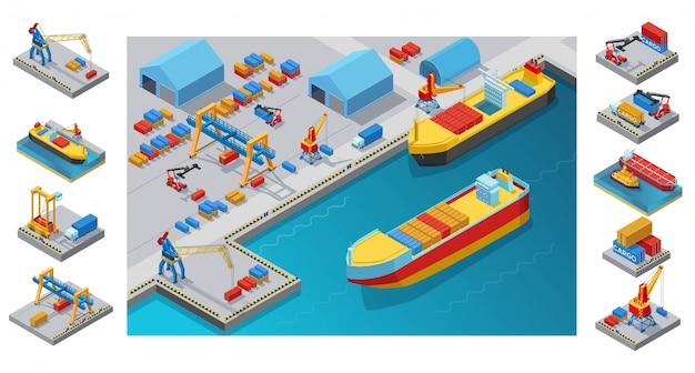 Isometrische seehafenvorlage Kostenlosen Vektoren