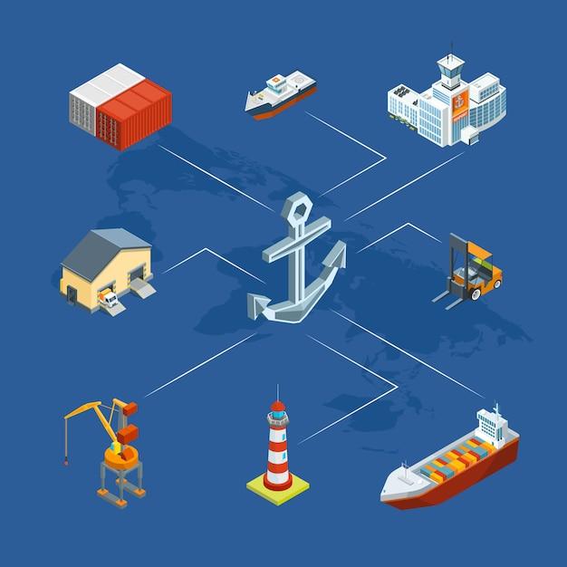 Isometrische seelogistik und seehafen infografik Premium Vektoren