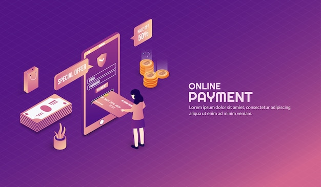Isometrische sichere online-zahlung hintergrund Premium Vektoren