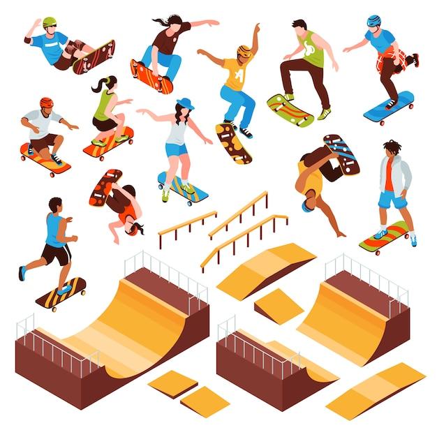 Isometrische skateboardplattformen setzen isolierte rollschuhbalken der skateparkelemente und menschliche charaktere der athletenvektorillustration Kostenlosen Vektoren