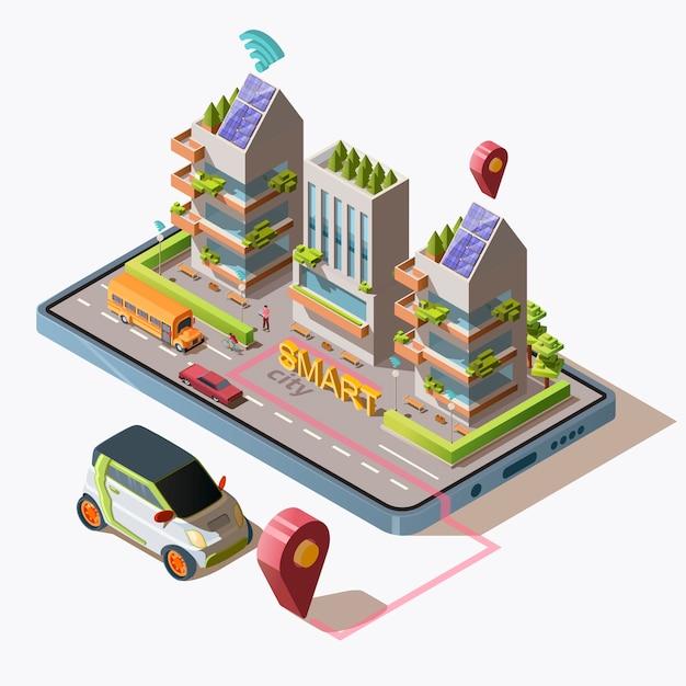 Isometrische smart city mit auto, straße, menschen, grünen, umweltfreundlichen, modernen gebäuden und transport auf dem smartphone. geschäftszentrum mit sonnenkollektoren auf dem dach, illustration. Kostenlosen Vektoren