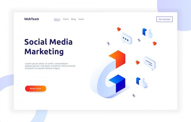 Isometrische social-marketing-banner Premium Vektoren