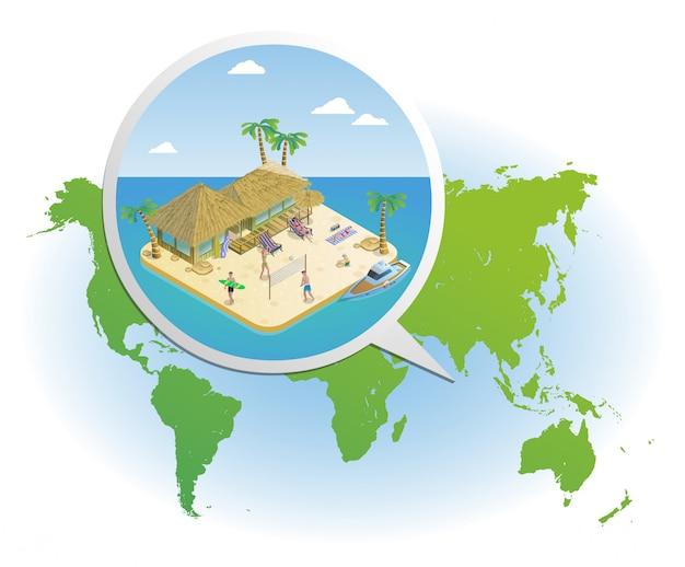 Isometrische sommerferien-schablone Kostenlosen Vektoren