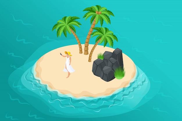 Isometrische sommerillustration mit einer paradiesinsel für ein reiseunternehmen, eine urlaubsanzeige mit einem mädchen in einer ruhigen wilden insel mit palmen und felsen Premium Vektoren