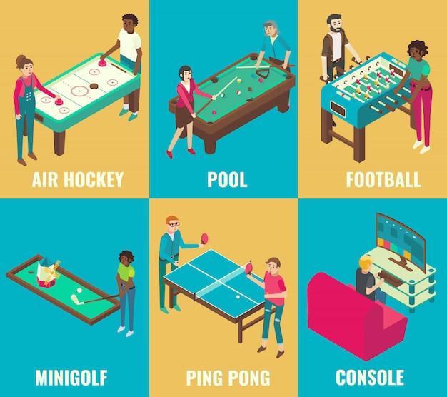 Isometrische spiele air hockey, billard, fußball, minigolf, tischtennis und konsolenelemente Premium Vektoren