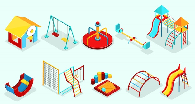 Isometrische spielplatzelemente, die mit sandkasten-freizeitschaukel-karussells besetzt sind, rutschen sportabschnitte und attraktionen isoliert Kostenlosen Vektoren