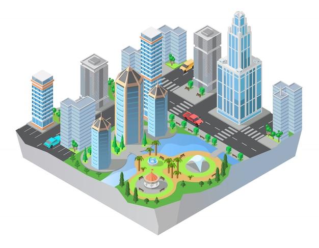 Isometrische stadt 3d, im stadtzentrum gelegen mit modernen wohngebäuden, wolkenkratzer, straßen, park Kostenlosen Vektoren