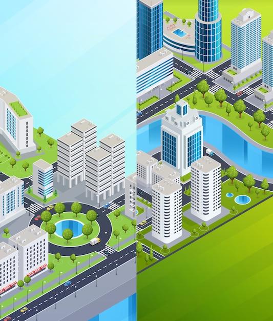 Isometrische stadt banner Kostenlosen Vektoren